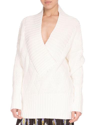 Oversized Cotton-Blend Pullover Sweater, Cream