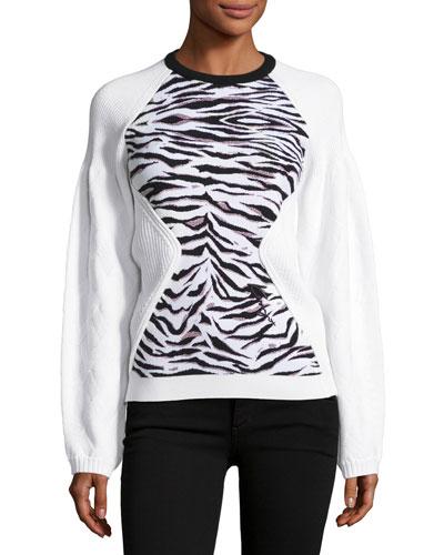 Jacquard Tiger Stripe Sweatshirt, White
