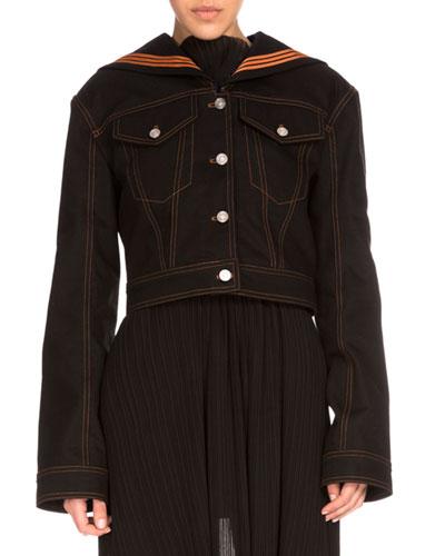 Denim Sailor Jacket, Black