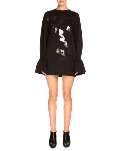 Bell-Sleeve Jersey Shift Dress, Black