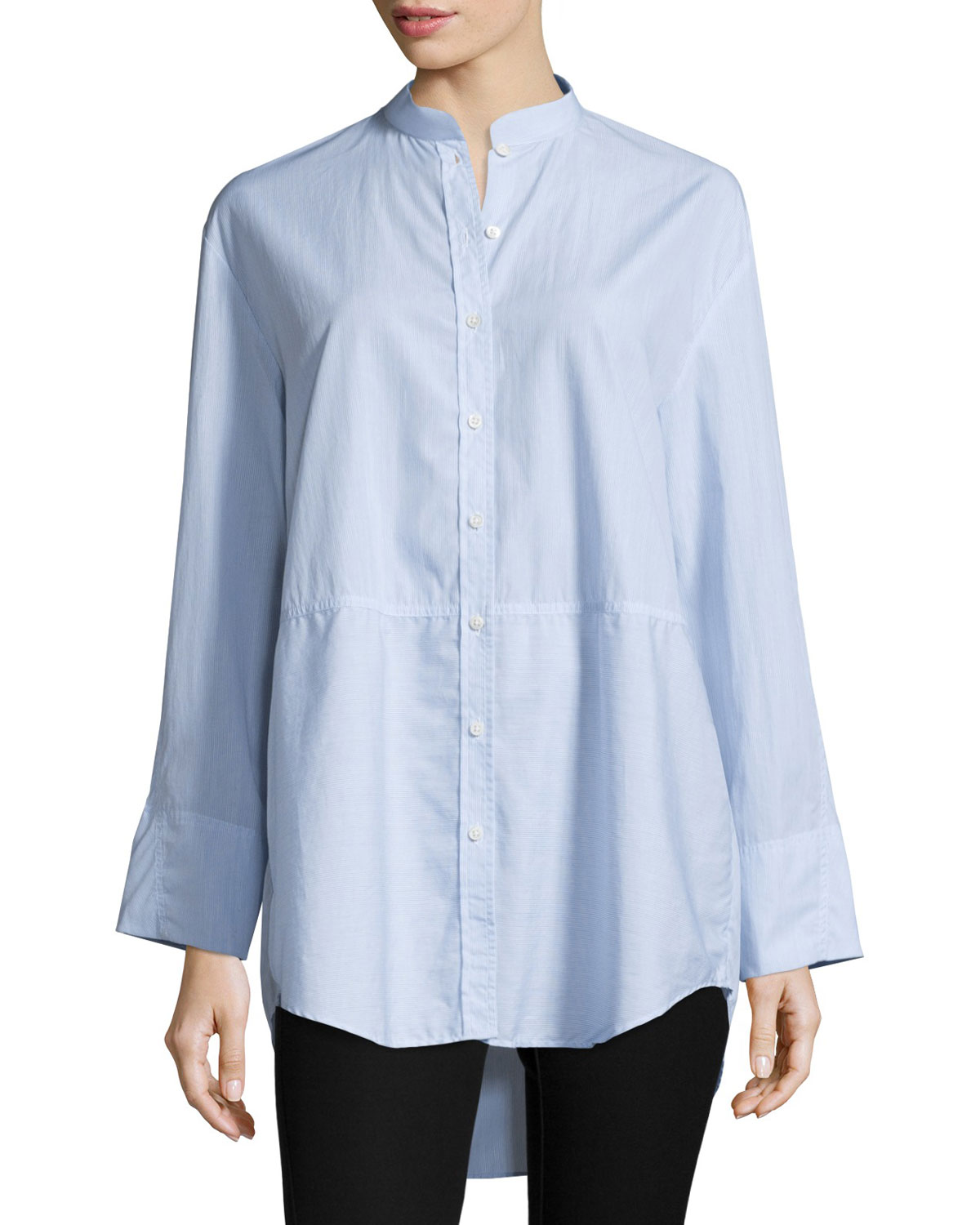 Lenny Long-Sleeve Pinstripe Poplin Shirt, Blue