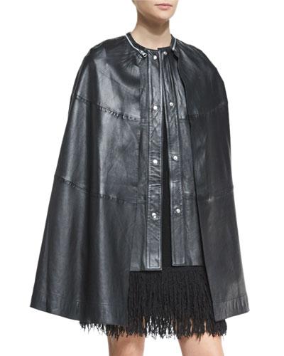 Leather Cape Vest, Black