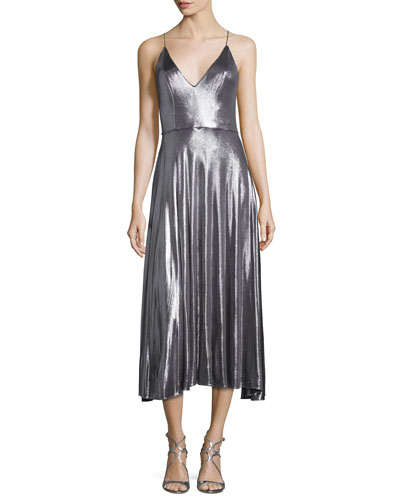 Sleeveless Metallic Midi Dress, Gunmetal