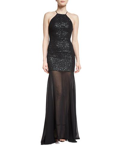 Sleeveless Sequin & Tulle Gown, Black/Gunmetal