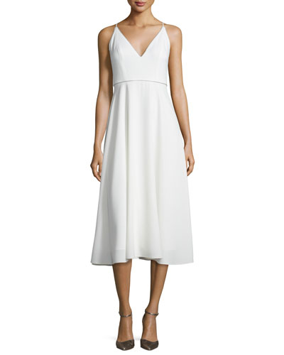 Sleeveless Beaded V-Neck Midi Dress, Chalk
