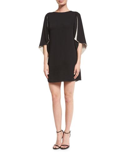 Cape-Sleeve Shift Dress, Black/Champagne