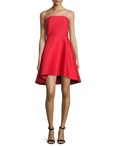 Strapless Structured Cocktail Dress, Scarlet