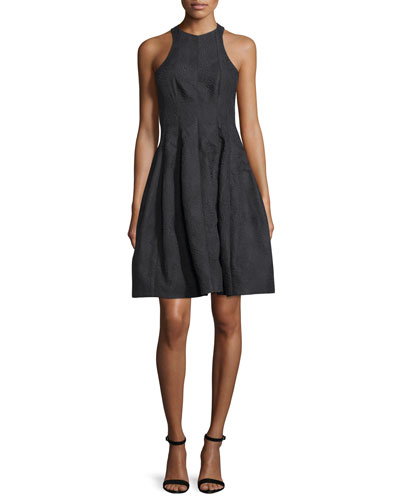 Paneled Jacquard Fit-and-Flare Cocktail Dress, Black