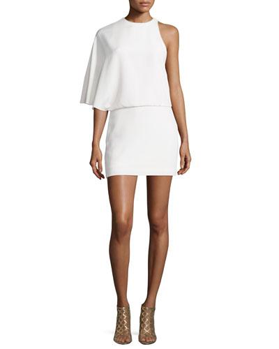 Asymmetric Draped Cocktail Dress, Chalk