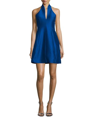 Structured Faille Halter Dress, Royal Blue