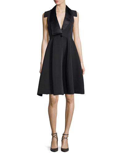 Structured Tuxedo Cocktail Dress, Black