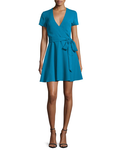Adrianna Short-Sleeve Mock-Wrap Dress