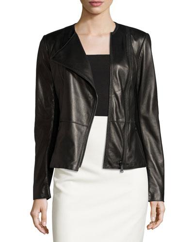 Wilma Leather Moto Jacket, Black