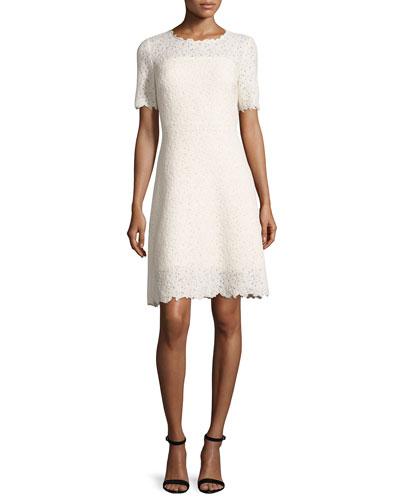 Ophelia Half-Sleeve Lace Dress, Off White/Cream