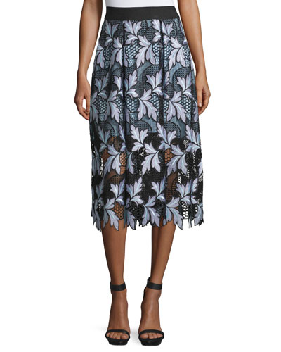 Patchwork Guipure Lace Midi Skirt