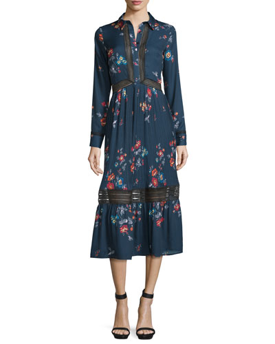 Plum Blossom Floral-Print Long-Sleeve Shirtdress