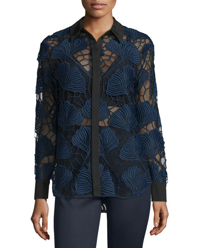 Floral-Lace Long-Sleeve Shirt, Navy