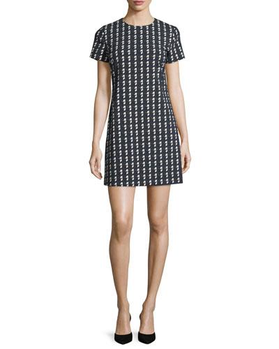 Jatinn Geometric Tile-Print Shift Dress