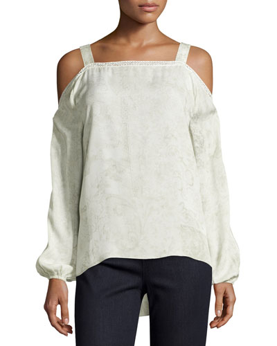 Lindy Cold-Shoulder Silk Blouse, Twine