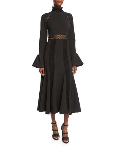 Trumpet-Sleeve Flare Dress, Black