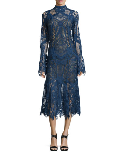 Lace Mock-Neck Midi Flare Dress, Navy