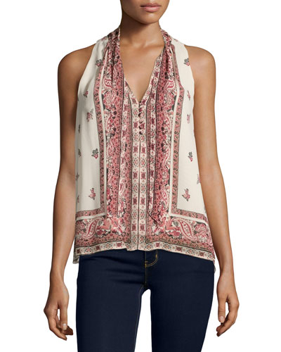 Valles Print Top, Almond