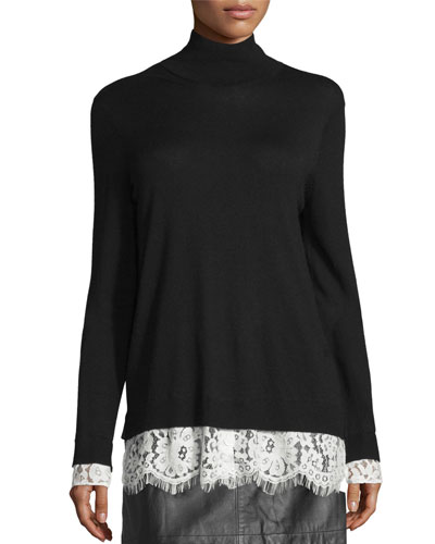 Fredrika Lace-Trim Mock-Neck Sweater