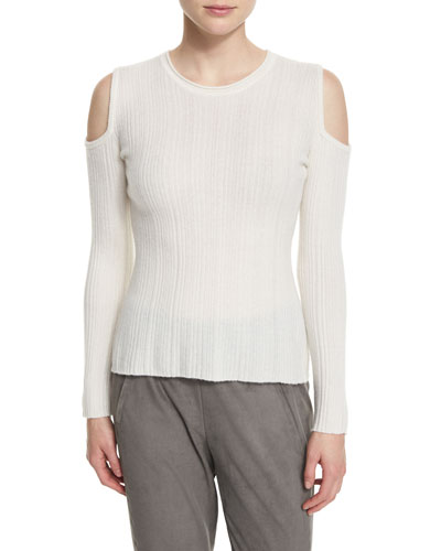 Marlah Ribbed Cold-Shoulder Sweater