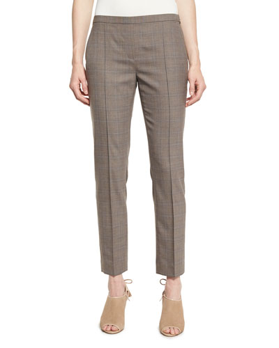 Karis Plaid Stretch-Wool Slim Trousers, Chicory