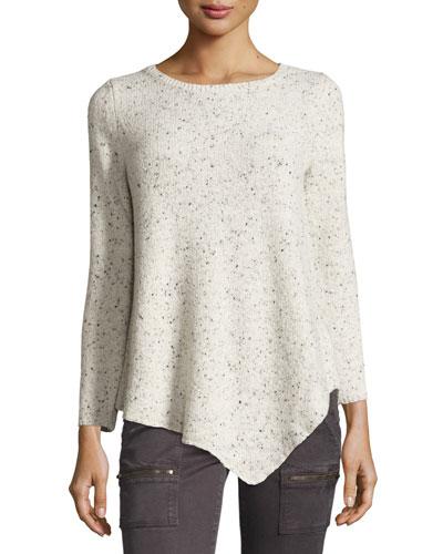 Tambrel Tweedy Asymmetric-Hem Sweater