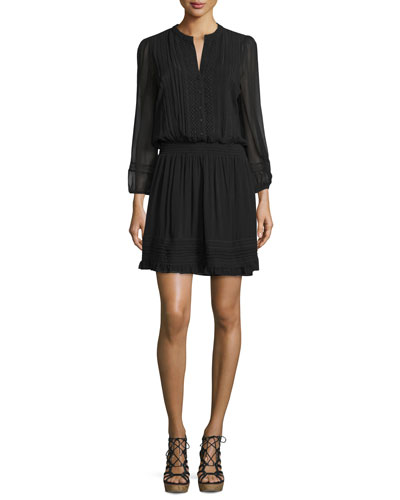 Pima Silk Georgette Lace-Inset Dress, Caviar