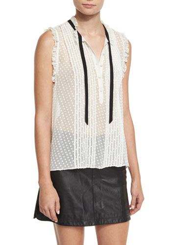 Toledo Swiss Dot Sleeveless Blouse