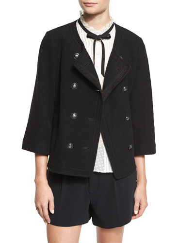Leija 3/4-Sleeve Double-Breasted Jacket