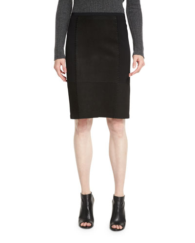 Leary Patchwork Suede Skirt, Black