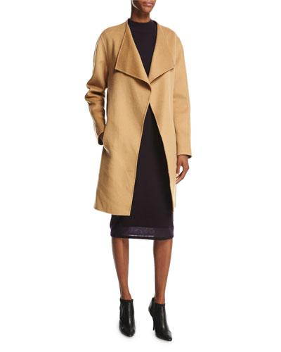 Dez Open-Front Wool-Blend Coat, Gingersnap