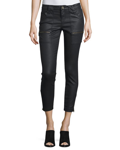 Park Coated-Denim Cropped Skinny Jeans