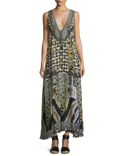 Embellished V-Neck Maxi Dress, Weave of the Wild