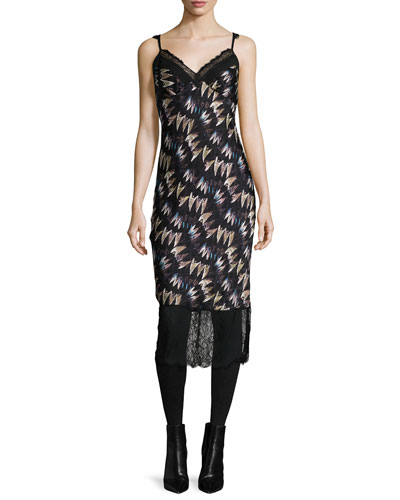 Margarit Printed Slip Dress, Army of Hearts Wild Rose/Black