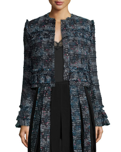 Katrin Fringe-Trim Tweed Jacket, Black/Peacock Multi