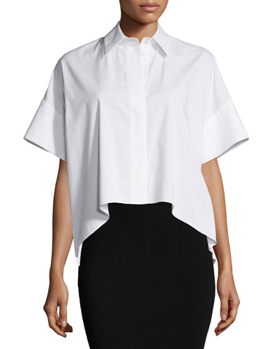 Alice Olivia Edyth High Low Short Sleeve Shirt | Top and Clothing