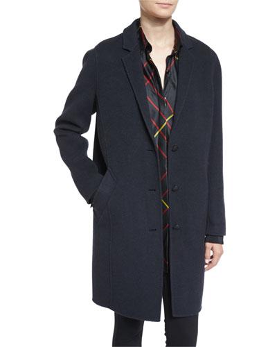 Bree Felted Wool-Blend Coat, Black Windowpane
