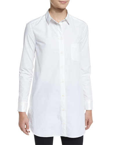 Kingsley Long-Sleeve Cotton Shirt, Bright White
