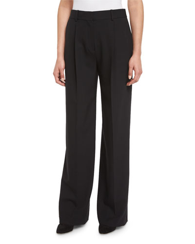 Adamaris Bergen Single-Pleat Wide-Leg Pants