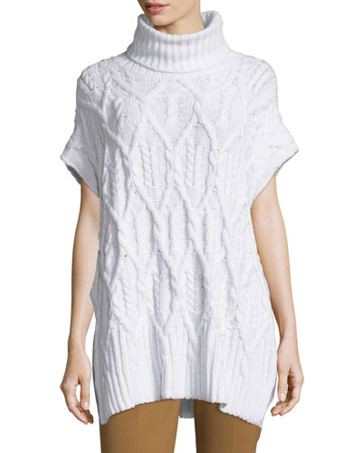 Boseley C Auroral Cable-Knit Short-Sleeve Sweater, Ivory