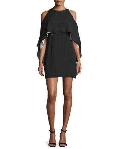 Belted Cold-Shoulder Cocktail Dress, Black