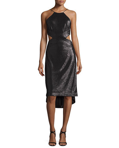 Sleeveless Metallic High-Low Cutout Dress, Black
