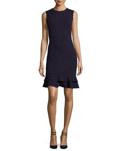 Jacey Tiered Flounce-Hem Dress, Black
