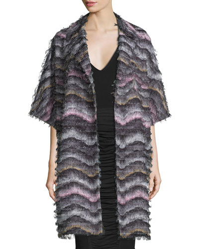 Floretta Wavy-Pattern Fringed Car Coat