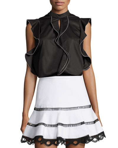 Contrast-Trim Ruffle Top
