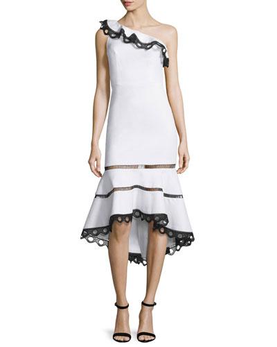 Christie One-Shoulder Ruffle Dress, White